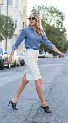 chambray button down, ivory faux leather perforated pencil skirt + black leather mules
