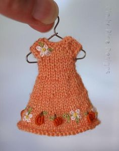 """Tiny Punkin"", a hand knit and embroidered dress for Wilde Imagination's 4"" Amelia Thimble doll.  Cindy Rice Designs"