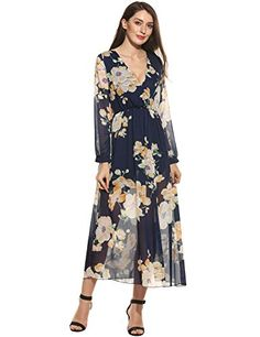 Zeagoo Women Chiffon V-Neck Long Sleeve Slit Floral Long ...
