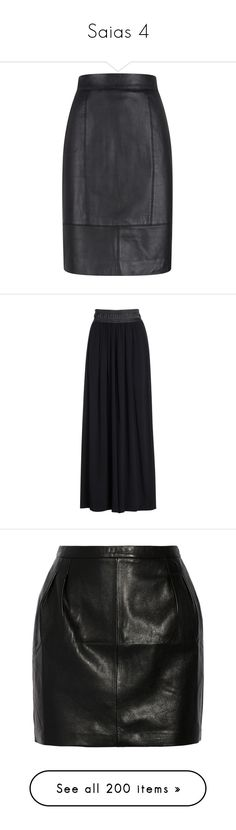 """Saias 4"" by beatriz-ceifadora ❤ liked on Polyvore featuring skirts, sale women skirts, knee length pencil skirt, leather skirt, genuine leather skirt, real leather pencil skirt, real leather skirt, bottoms, faldas and black onyx"