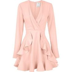 C/Meo Collective Ultralight Long Sleeve Ruffle Dress (€135) ❤ liked on Polyvore featuring dresses, vestidos, pink dress, long sleeve ruffle dress, flouncy dress, long sleeve fit and flare dress and pink fit-and-flare dresses