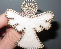 Zipper/Recycled Felted Wool Sweater Zipper Brooch/Pin- Angel