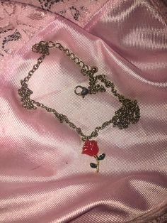 90s Babe Thanks For Nothing Red Rose Chain Necklace