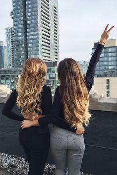 Besties with long hair <3 Left: Dirty Blonde Luxy Hair Extensions Right: Ombre Blonde Luxy Hair Extensions @mimiikonn @ashleyymari3