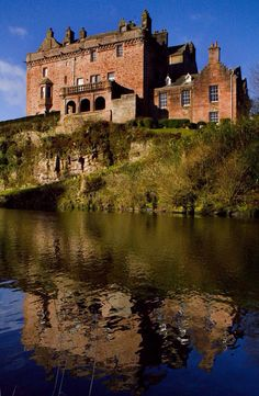 Sorn Castle ~ the pink sandstone castle, dating from the 14th century, towers over the River Ayr, Ayrshire, Scotland
