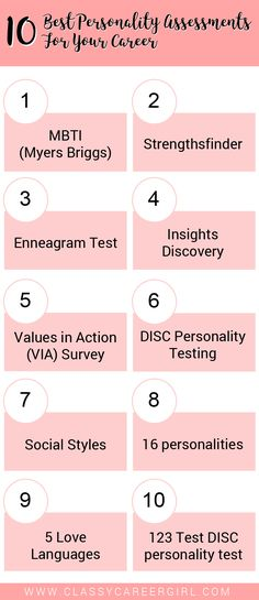 10 Best Personality Assessments For Your Career Before you jump into your next job, do yourself a favor and get to know yourself a little better. Read more: http://www.classycareergirl.com/2017/02/personality-assessments-career/