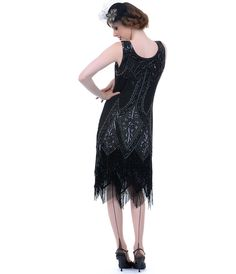 Unique Vintage All Black Embroidered Somerset Flapper Dress