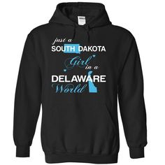 (SDJustXanh001) Just A #South Dakota Girl In A Delaware World, Order HERE ==> https://www.sunfrog.com/Valentines/-28SDJustXanh001-29-Just-A-South-Dakota-Girl-In-A-Delaware-World-Black-Hoodie.html?6789, Please tag & share with your friends who would love it , #christmasgifts #renegadelife #jeepsafari  #south dakota travel, rapid city south dakota, south dakota farm #holidays #events #gift #home #decor #humor #illustrations