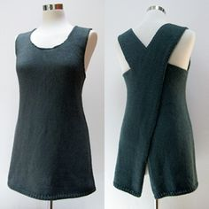 Cocoknits Maude ~ a fun layering piece. From the front a simple tunic with optional pockets lined in sock weight yarn to reduce bulk. The back is open and the straps cross at the top. Very sleek and simple in design, the only seams,  at the top of the shoulders. Malabrigo yarn 100% cotton.