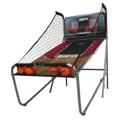 ESPN Two Player Basketball Game. This unit is large in size, but can fold in half up-right for easy storage.  Play up to 8 different games and keep track of your score with the digital scorer