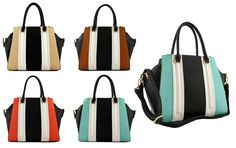 #FashionHandbags #DesignerHandbags #Designertotebag #Designertotebags #tote #totebag #womantotebag  DESIGNER 3 COMPARTMENT MULTI COLOR STRIPE TOTE BAG 81130  www.wholesaleneobags.com   3 compartment 3 zippers top closure Textured faux leather Rear zipper pocket Inside lining with open/zip pockets 19 inch handles & 50 inch adjustable strap 16 (W) x 4.5 (D) x 10.5 (H) inches  www.wholesaleneobags.com  #wholesalehandbags #wholesalefashionhandbags #wholesaledesignerhandbags #eveningclutchbags…