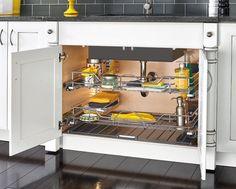 Rev-A-Shelf - Width Undersink Pullout Basket w/Soft-Close - (Chrome) - The Hardware Hut Kitchen Organization, Kitchen Storage, Storage Spaces, Storage Ideas, Storage Solutions, Organizing, Rustic Kitchen Cabinets, Kitchen Decor, Kitchen Ideas