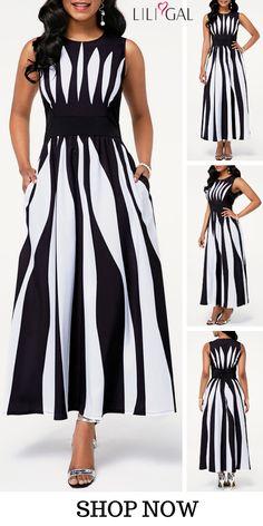 High Waist Round Neck Sleeveless Stripe Print Dress - Source by ramonasteube - Elegant Dresses, Sexy Dresses, Evening Dresses, Casual Dresses, Club Party Dresses, Spandex Dress, Models, Fashion Outfits, Womens Fashion
