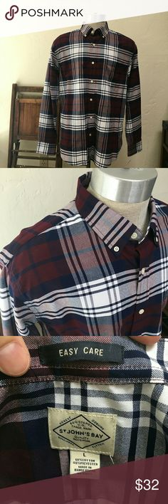 St John's Bay easy care plaid shirt large Worn once no issues long sleeve casual shirt.  Deep purple, but not loud colors. St. John's Bay Shirts Dress Shirts