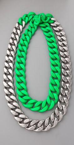 Adia Kibur Silver & Neon Chain Link Necklace (Neon Green)