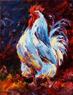 "Daily Painters Abstract Gallery: Colorful Animal Rooster Palette Knife Painting ""In Charge"" by Texas Artist Debra Hurd"