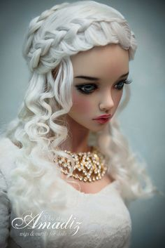 Daenerys hairstyle natural angora wig for bjd SD by AmadizStudio