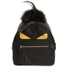 Women's Fendi Monster Genuine Fox Fur, Genuine Goat Fur & Genuine... ($1,650) ❤ liked on Polyvore featuring bags, backpacks, day pack backpack, shopper tote bag, fendi, fur backpacks and fendi shopper