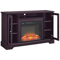 iggy espresso electric television cabinet with fireplace 9v606 lamps plus