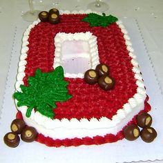 Ohio State University Block-O Cake - Either carve out a sheet cake pan to the shape or go to http://www.collegetraditions.com/ to purchase a Block-O pan