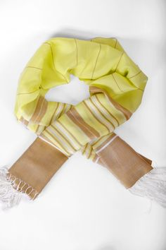 Cotton Yellow Handwoven Summer Scarf | Sunny Cotton Hand woven Shawl | Long Scarf | Yellow Cotton Scarf | Yellow and Tan Shawl - pinned by pin4etsy.com