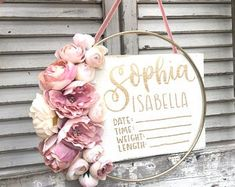 Your place to buy and sell all things handmade Hospital Door Wreaths, Hospital Signs, Birth Announcement Sign, Floral Hoops, Yours Truly, The Doors, Lettering, Caligraphy, Girl Nursery