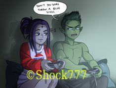 She threw it. Teen Titans Love, Teen Titans Fanart, Original Teen Titans, Teen Titans Funny, Robin Starfire, Raven Beast Boy, Bbrae, Starco, Comic Art