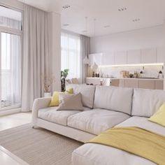 Студия LESH | Светлая гостиная с теплыми вставками нежно желтого и бежевого цветов