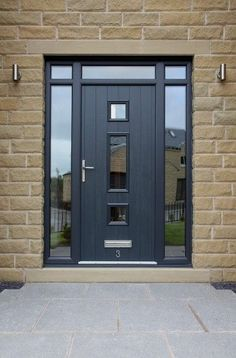 Grey windows, front doors with windows, porch doors, front door porch, fron Front Door Porch, Grey Front Doors, Porch Doors, Modern Front Door, Front Door Entrance, House Front Door, Front Door Design, Glass Front Door, Entry Doors