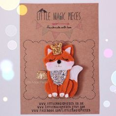 Woodland Princess Fox Hair Clip Glitter by LittleMagicPieces