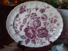 For consideration is this lovely purple and white transferware platter by Johnson Brothers in the Elizabeth pattern from the Windsor Ware series. The pattern depicts an array of lush, blooming cabbage