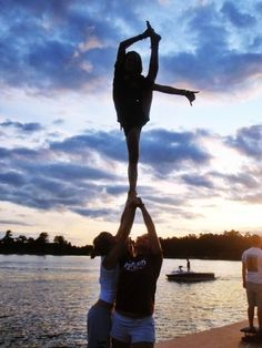 My daughter was a flyer in cheerleading - and could do this! Yes, I had a heart attack EVERY time! Haha!