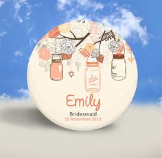 Country Wedding - Bridesmaid's Gift - Personalized Pocket Mirror, Magnet or Pinback Button - 2.25 Inches on Etsy, $2.00