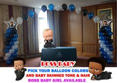 Boss Baby Shower Balloon Columns and Arch, Cake Table, Gift Table, DIY KIT Party Supplies Graduation Balloons, Wedding Balloons, Birthday Balloons, Baby Balloon, Baby Shower Balloons, Mylar Balloons, Latex Balloons, Baby Table, Do It Yourself Kit