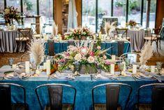 TREND ALERT: Beaucoup Blue! - Creative Coverings Blog feauturing Ocean Plush Velvet full length blue linen