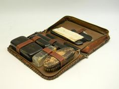 Vintage Mens Vanity Set With Leather Travel Case...