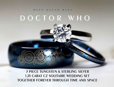 """If I ever have a need for more jewelry, it had better be Doctor Who themed. Blue Doctor Who his and her wedding rings in blue tungsten with matching laser engraved Gallifreyan: """"Together forever through time and space"""" Ring Set, Ring Verlobung, Solitaire Ring, Dr Who, Wedding Sets, Wedding Bands, Blue Wedding, Geek Wedding Rings, Star Wedding"""