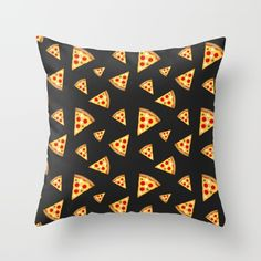 Cool and fun pizza slices pattern Throw Pillow by #PLdesign #pizza #fun #pattern #food