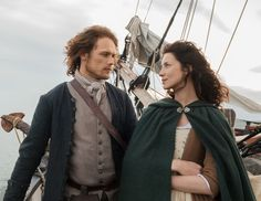 "Jamie Fraser (Sam Heughan) and Claire (Caitriona Balfe) in ""To Ransom A Man's Soul"" of Outlander Season One on Starz via http://www.outlandertvnews.com/"