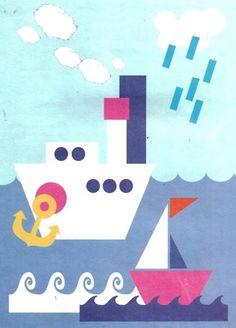 Кораблик из цветной бумаги