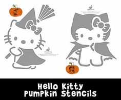 3 adorable Hello Kitty pumpkin stencils, hand drawn exclusively by us at Woo…
