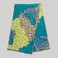 NASW-6 Blue&yellow African Fabrics Super Wax Print, African Super Deluxe Wax…