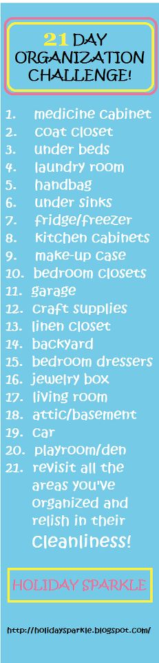 OK ...let's get real.  Some will take only a day or less...like the medicine cabinet.  But the bedroom closet or craft room?!?!  In a day??!!??  Paaleeze!  Otherwise, a great way to get organized and purge of unneeded stuff.