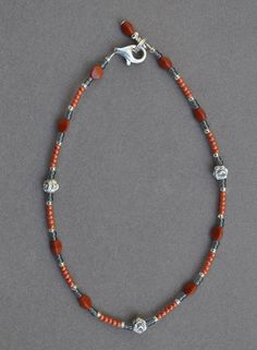 Jewelry - Anklets - Burnt Orange Beaded Anklet by JewelryArtByGail on Etsy SOLD