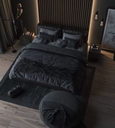 The classic elegant black colored bedroom never goes out of style. Tag a friend who loves dark bedroom? Black Bedroom Design, Luxury Bedroom Design, Home Room Design, Bed Design, Home Interior Design, Bedroom Black, Loft Design, Luxury Interior, Modern Interior