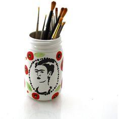 Frida Kahlo Vase or Brush Holder With Poppy Design on Mason Jar ($16) ❤ liked on Polyvore featuring home, home decor, black, home & living, home décor, vases, handmade home decor, ceramic utensil holder, ceramic vessels and black home decor