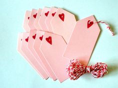 Valentine's Day Gift Tags with Baker's Twine One by ClaireMDesigns, $4.50
