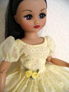 Rini doll modeling a flocked organdy dress that is for sale on my website www.DollDreamsByNatalie.com