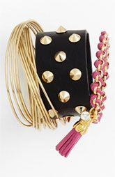 Pile it on combos - Cara & Nordstrom Bracelets Fashion Still Life, Studs And Spikes, Studded Leather, Bangle Bracelets, Bangles, Necklaces, Ring Earrings, Jewelry Crafts, Jewelry Accessories