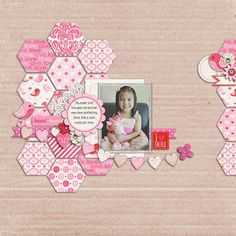 honeycomb scrapbook layout: